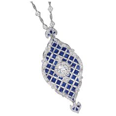 1stdibs | Exceptional sapphire and diamond elaborate pendant necklace, c.