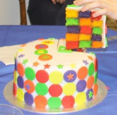 rainbow checkerboard cake (I'll pass on the skittles flavors, though!)