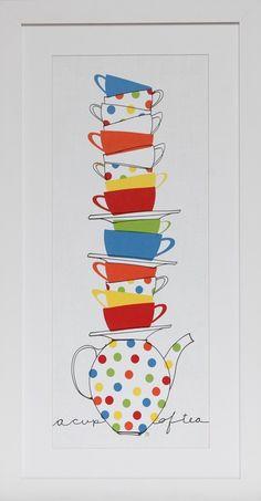 Quadro decorativo de Cozinha - Pilha de copos I - Stack of cups I | Web Quadros