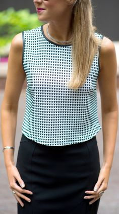 black and white check crop top, silver choker, black pencil skirt + oxford shoes
