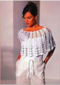 Crochetemoda: Pelerine Branca em Crochet