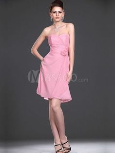 Pearl Pink Chiffon Column Bridesmaid Gown Short with Hand-made Flowers MS73NB524