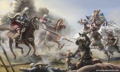 Combat between Polish Winged Hussars and Swedish troops Military Art, Military History, Spanish War, Thirty Years' War, Armadura Medieval, Modern Warfare, Character Art, Wings, 17th Century