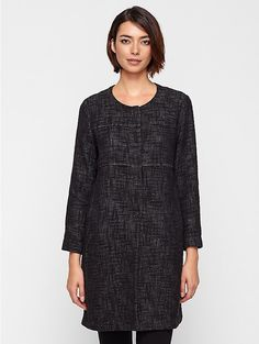 Round Neck Jacket in Stitched Cotton Linen Tweed. This is one of those classic elegant yet simple pieces I love Eileen Fisher for!
