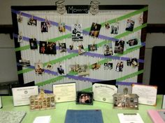 graduation party decorations - memory picture board on room divider using  twine and clothespins
