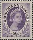 Rhodesia and Nyasaland, 1.7.1954. Queen Elizabeth II., No.9, 9P purple. Mint condition 0,82 USD. Stamped 1,10 USD.