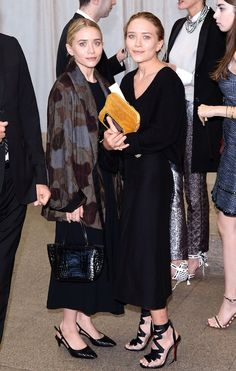 Ashley Olsen wearing Bottega Veneta Nero Stuoia Smooth Chevre Pump.
