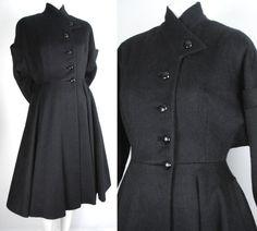 Vintage 50's Black Wool Princess Coat  1950's Fit and by AldaWild