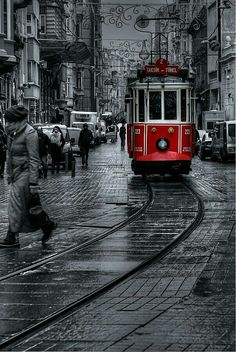 """tram"" by e photography Istanbul Turkey, Black White Photography Red, Black And Red Photography, Splash Photography, City Photography, Black And White Photography, People Photography, Artistic Photography, Vintage Photography, Landscape Photography, Portrait Photography, Black And White City"