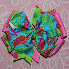 Colorific Paisley Hair Bow by MegansHairCandy on Etsy, $7.50