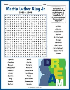 No Prep Martin Luther King Jr. Day Activity - Word Search Puzzle Worksheet Coretta Scott, Civil Rights Activists, History For Kids, Fun Activities For Kids, King Jr, Vocabulary Words, Your Teacher, Martin Luther King, Word Search