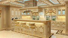 Villa design in Lagos Mansion Kitchen, Luxury Kitchens, Classic Kitchens, Kitchen Sets, Beautiful Kitchen Cabinets, Kitchen Room Design, Luxury Kitchen Design, Ornate Kitchen, Kitchen Furniture Design