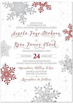 Red, silver grey and white snowflake winter wedding invitation. Bold red and silver snowflakes paired with falling snow. A modern, elegant design.
