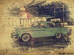 Night cruising downtown.  Dodge Kingsway 1955 Linkoping Sweden 10/09/13