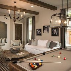 Incredible pool table room ideas / billiard room dcor & design in home. Best pool table, furniture and accessories for family / living room. Billards Room, Pool Table Room, Pool Tables, 7 Foot Pool Table, Traditional Family Rooms, Traditional Bathroom, Pool Table Lighting, Game Room Lighting, Lighting Ideas