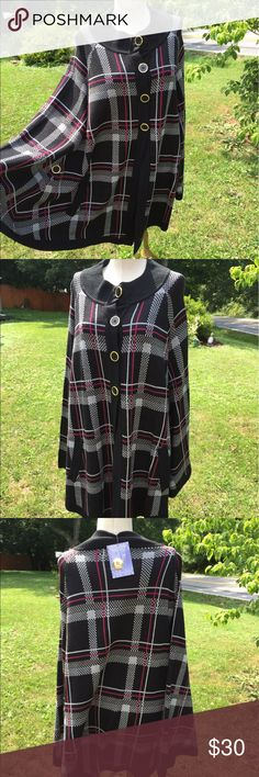 Hot in Hollywood Poncho Cape SweaterXL/1X New Excellent new condition with tag.  Black, gray and red pattern. Big button down front.  Front pockets. Hot in Hollywood Sweaters Shrugs & Ponchos