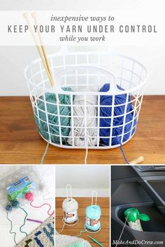 This! Organize your yarn with these inexpensive DIY yarn holders made from objects you can find around your house like egg cartons, baskets, baby food containers and items from the dollar store.