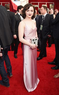Maisie Williams from SAG Awards 2017: Best Dressed Celebs  What a gorgeous color on the Game of Thrones actress! Also worth mentioning: that killer clutch.