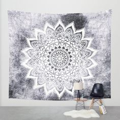 BOHO WHITE NIGHTS Mandala Bohemian Wall Tapestry by NikaMartinez