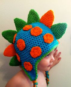 Crochet Dino Spike Beanie by EnglishHouseCrafts on Etsy, $20.00