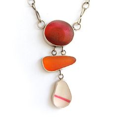 Sea Glass 'Multis' Necklace in pink, orange and white with pink stripe