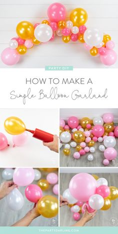 How to Make a Simple Balloon Garland Small Balloons, Mini Balloons, Rainbow Balloons, Birthday Balloons, Hanging Balloons, Diy Birthday Decorations, Balloon Decorations Party, Diy Party Garland, Simple Balloon Decoration