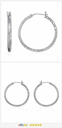 "14 K White Gold 1 1/4"" Hoop Earrings USA Seller #EBAY http://stores.ebay.com/JEWELRY-AND-GIFTS-BY-ALICE-AND-ANN"