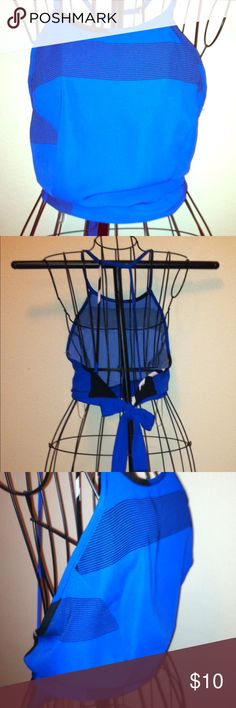 """Jr. Miss halter top, size M, """"January7"""", backless Adorable backless halter top, 26 inch tie waist back, spaghetti strap cross cross back, blue & black, Jr. Miss Medium size, NWT, still new, hasn't been worn, price retail $12.99. january 7 Tops Crop Tops"""