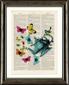Butterfly Teapot - Antique Dictionary Page Art Print, Kitchen Art, Upcycled Vintage Book Page Art, Wall Art, Art Poster Book Page Art, Old Book Pages, Old Books, Antique Books, Vintage Art Prints, Upcycled Vintage, Unique Art, Vintage World Maps, Art Pieces