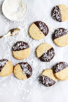 Chocolate dipped coconut cookies