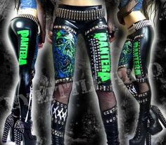 Wet Look Studded Pantera Leggings by My Little Halo Alternative Clothing http://www.mylittlehalo.co.uk/wet-look-pantera-studded-heavy-metal-leggings-size-68-2352-p.asp