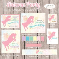 Unicorn Birthday Party Printable Collection (Includes custom invitations and personalized party sign)