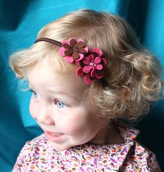 Pink and Brown Baby Headband - Headband - Baby Headband - Headband for Babies / Toddlers - Pink and Brown Felt Flower - Baby Hairband on Etsy, $7.70