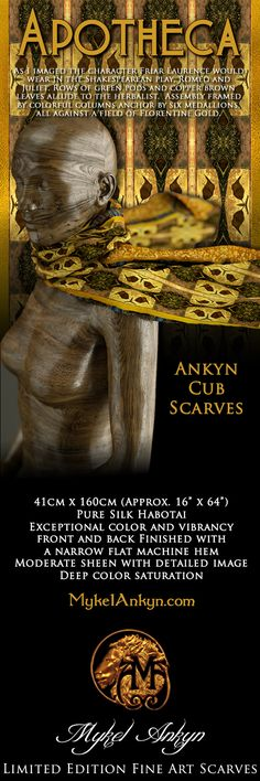 Ankyn Cub Collection - APOTHECA - As I imaged the character Friar Laurence would wear in the Shakespearean play, Romeo and Juliet. Rows of green pods and copper brown leaves allude to the herbalist.  Assembly framed by colorful columns anchor by six medallions, all against a field of Florentine Gold.