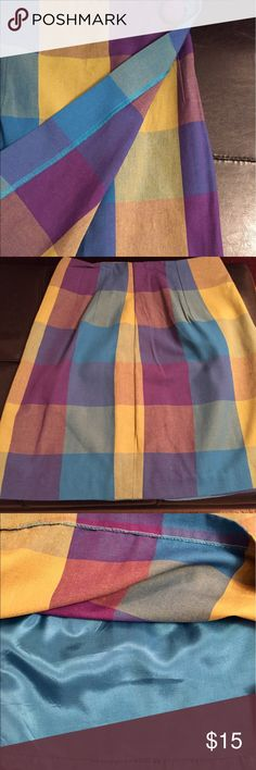 🌎Casual Corner Linen Wrap Skirt Sz 4 Excell Cond 🌻Very Pretty Blue, Purple &  Plaid Wrap Skirt with Lining & Cute Button Detail. Casual Corner Quality Made Linen Skirt Sure to a Wardrobe Favorite!! Excellent Condition! Size 4 - Beautiful Color & Pattern! Smoke-Free Fashion Loving Posher🌺Fast Shipper🌼 Casual Corner Skirts