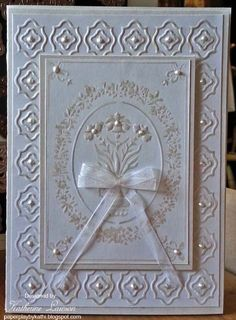 White on White Bouquet Stencil Card