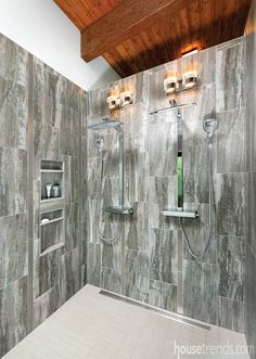A Pair Of Hansgrohe Showerpipes Highlights This Large Walk In Shower Housetrends