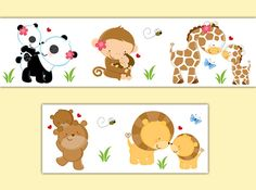 SAFARI ANIMAL DECAL Wallpaper Border Baby Nursery Wall Art Sticker Kids Girl Boy Neutral Jungle Room Childrens Woodland Forest Bedroom Decor #decampstudios