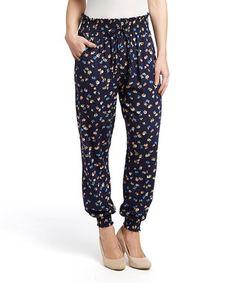 Blue & Yellow Floral Harem Pants - Women