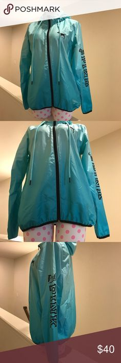 Victoria's Secret PINK Full Zip Anorak. EUC only worn a couple times. It is an ombré darkish teal colored at the bottom and fades up into a lighter blue/green. Size is XS/S is slightly oversized. PINK Victoria's Secret Tops Sweatshirts & Hoodies