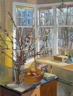 Forsythia Spring by Carole Rabe Oil. Such amazing work; I admire everything by Rabe! I love her elegant pastel colors which are so relaxing. She also achieves incredible depth and great light; cool outside and warm and inviting inside. Art And Illustration, Window Art, Paintings I Love, Art Paintings, Artist Art, Contemporary Artists, Painting Inspiration, Painting & Drawing, Windows