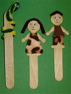 Adam Eve and Serpent popsicle stick craft- one side covered in leaves; other in animal skin/fur