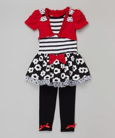 Red & Black Flower Shrug Dress & Leggings - Infant & Toddler