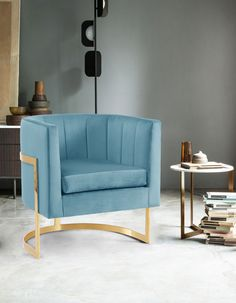 Our Imelda accent chair features a velvet design, channel tuft design and gold stainless steel base. Chair Upholstery, Chair Fabric, Upholstered Dining Chairs, Dining Chair Set, Chair Cushions, Green Velvet Fabric, Blue Velvet Chairs, Blue Chairs, Room Chairs