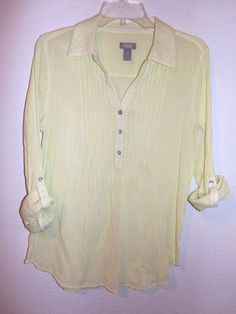 Chico's 1 Lime White Stripe Blouse Cotton Tunic Long Sleeve Shirt Seersucker #Chicos #Blouse #Casual