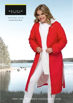 Claudia jacket in Rich Red colour with long side seam zippers and detachable hood. Red Colour, Spring Jackets, Look Chic, Looking For Women, Zippers, Perfect Fit, Jackets For Women, Feminine, Coat