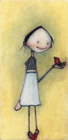 girl with bird and red shoes by lisahurwitz on Etsy, $25.00