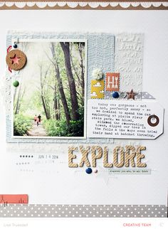 explore by gluestickgirl at Studio Calico Scrapbook Box, Recipe Scrapbook, Scrapbook Titles, Scrapbook Sketches, Scrapbook Page Layouts, Travel Scrapbook, Scrapbook Paper Crafts, Scrapbook Supplies, Scrapbook Cover