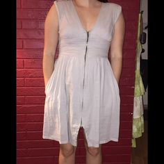 "KC zipper corset cotton dress w pockets 100% cotton Beige dress w cotton lining! Zips all the way up the front. Is a size XS but could fit a small. I am a sz 8/10 for reference. Also I'm 5' 4.5"" tall.  Looks cuter w boots and leggings. Shoulders have cute detail. Pics are with flash except for 2nd one. EUC Feel free to make a reasonable offer. Not sure whats reasonable? Check out the chart at the top of my closet! ☺️ Kenneth Cole Dresses Midi"