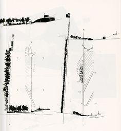 """Eduard Bru. Quaderns. 190 1991: 73 """"Los caminos se desprenden entonces de la base natural y se apoyan en arquitecturas. Construcciones auxiliares dispuestas para restabelecer el acuerdo entra topografía y trazados geométricos. Esas construcciones dan..."""